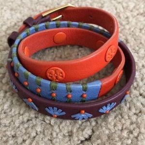 Tory Burch colorful leather wrap bracelet